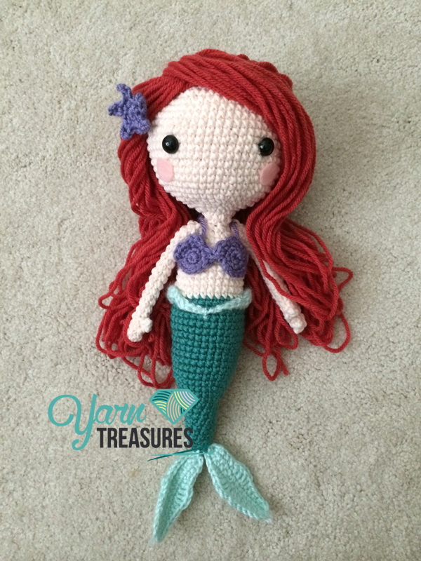 Crochet Hair For Dolls : Ariel Doll Hair Tutorial - Yarn Treasures